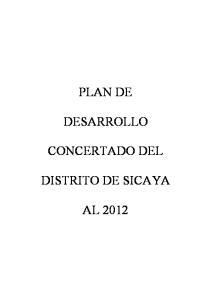 PLAN DE DESARROLLO CONCERTADO DEL DISTRITO DE SICAYA