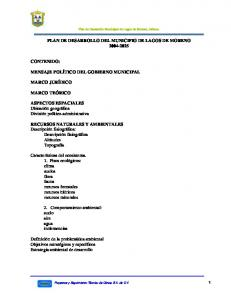 PLAN DE DESARROLLO DEL MUNICIPIO DE LAGOS DE MORENO