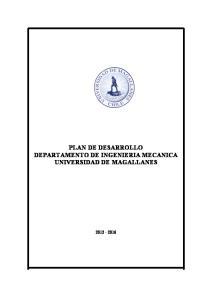 PLAN DE DESARROLLO DEPARTAMENTO DE INGENIERIA MECANICA UNIVERSIDAD DE MAGALLANES