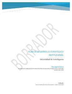 PLAN DE DESARROLLO ESTRATEGICO INSTITUCIONAL