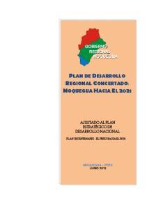 PLAN DE DESARROLLO REGIONAL CONCERTADO: MOQUEGUA HACIA EL 2021