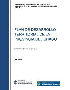 PLAN DE DESARROLLO TERRITORIAL DE LA PROVINCIA DEL CHACO