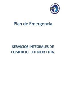 Plan de Emergencia SERVICIOS INTEGRALES DE COMERCIO EXTERIOR LTDA