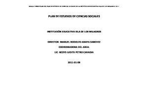 PLAN DE ESTUDIOS DE CIENCIAS SOCIALES