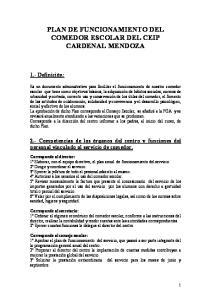 PLAN DE FUNCIONAMIENTO DEL COMEDOR ESCOLAR DEL CEIP CARDENAL MENDOZA