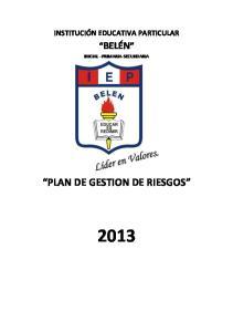 PLAN DE GESTION DE RIESGOS