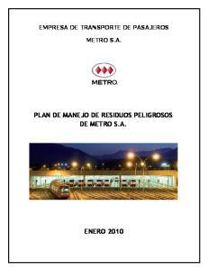 PLAN DE MANEJO DE RESIDUOS PELIGROSOS DE METRO S.A