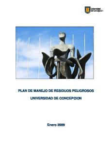 PLAN DE MANEJO DE RESIDUOS PELIGROSOS UNIVERSIDAD DE CONCEPCION