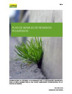 PLAN DE MANEJO DE RESIDUOS PELIGROSOS