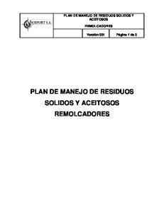 PLAN DE MANEJO DE RESIDUOS SOLIDOS Y ACEITOSOS REMOLCADORES