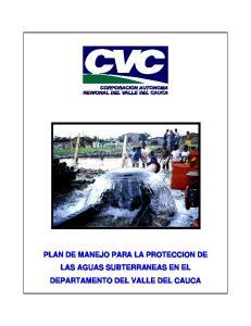 PLAN DE MANEJO PARA LA PROTECCION DE LAS AGUAS SUBTERRANEAS EN EL DEPARTAMENTO DEL VALLE DEL CAUCA