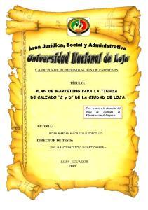 PLAN DE MARKETING PARA LA TIENDA DE CALZADO J y D DE LA CIUDAD DE LOJA
