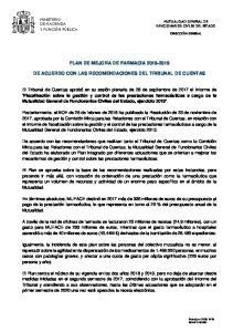 PLAN DE MEJORA DE FARMACIA DE ACUERDO CON LAS RECOMENDACIONES DEL TRIBUNAL DE CUENTAS