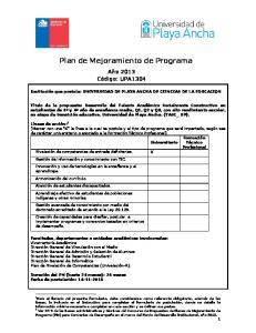 Plan de Mejoramiento de Programa