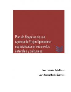 Plan de Negocios de una Agencia de Viajes Operadora especializada en recorridos naturales y culturales
