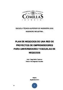 PLAN DE NEGOCIOS DE UNA RED DE PROYECTOS DE EMPRENDEDORES PARA UNIVERSIDADES Y ESCUELAS DE NEGOCIOS