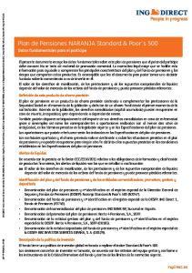 Plan de Pensiones NARANJA Standard & Poor s 500