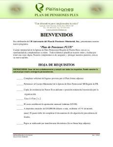 PLAN DE PENSIONES PLUS HOJA DE REQUISITOS