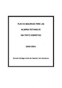 PLAN DE SEGURIDAD PARA LAS MUJERES VÍCTIMAS DE MALTRATO DOMÉSTICO ( )