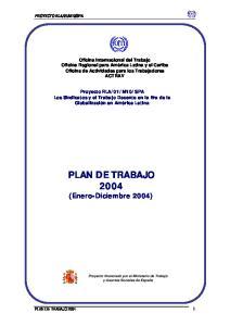 PLAN DE TRABAJO 2004 (Enero-Diciembre 2004)