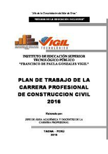 PLAN DE TRABAJO DE LA CARRERA PROFESIONAL DE CONSTRUCCION CIVIL