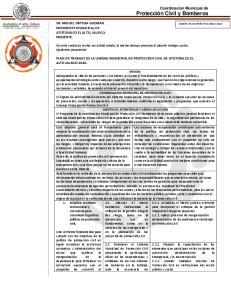 PLAN DE TRABAJO DE LA UNIDAD MUNICIPAL DE PROTECCION CIVIL DE ATOTONILCO EL ALTO JALISCO 2016