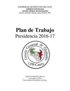 Plan de Trabajo Presidencia