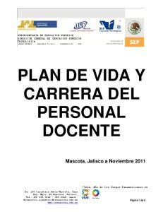 PLAN DE VIDA Y CARRERA DEL PERSONAL DOCENTE