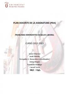 PLAN DOCENTE DE LA ASIGNATURA (PDA) CURSO