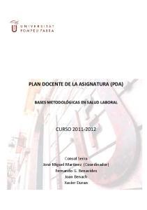 PLAN DOCENTE DE LA ASIGNATURA (PDA)