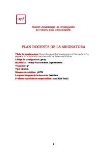 PLAN DOCENTE DE LA ASIGNATURA