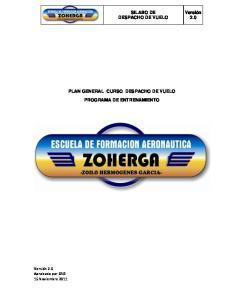 PLAN GENERAL CURSO DESPACHO DE VUELO PROGRAMA DE ENTRENAMIENTO