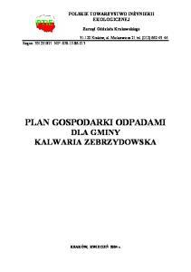 PLAN GOSPODARKI ODPADAMI DLA GMINY KALWARIA ZEBRZYDOWSKA