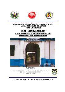 PLAN HOSPITALARIO DE PREPARATIVOS E INTERVENCION DE EMERGENCIAS Y DESASTRES