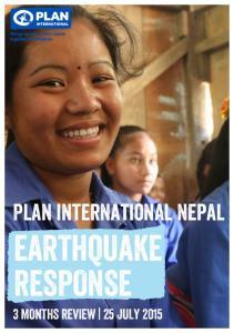 Plan international Nepal EARTHQUAKE RESPONSE
