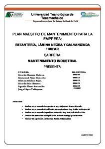PLAN MAESTRO DE MANTENIMIENTO PARA LA EMPRESA: