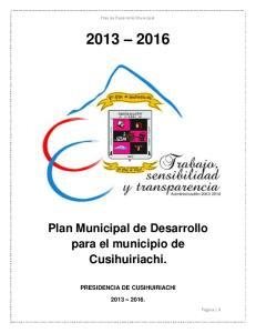 Plan Municipal de Desarrollo para el municipio de Cusihuiriachi
