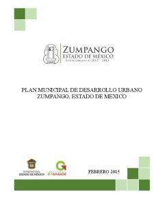PLAN MUNICIPAL DE DESARROLLO URBANO ZUMPANGO, ESTADO DE MEXICO