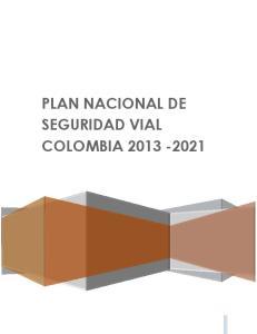 PLAN NACIONAL DE SEGURIDAD VIAL COLOMBIA