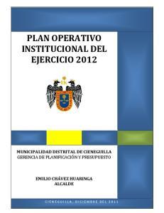 PLAN OPERATIVO INSTITUCIONAL DEL EJERCICIO 2012