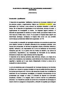 PLAN PARA EL DESARROLLO DE CAPACIDADES, HABILIDADES Y DESTREZAS (PROPUESTA)