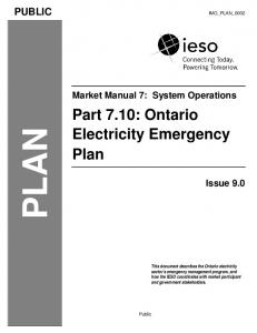 PLAN. Part 7.10: Ontario Electricity Emergency Plan PUBLIC. Market Manual 7: System Operations. Issue 9.0 IMO_PLAN_0002