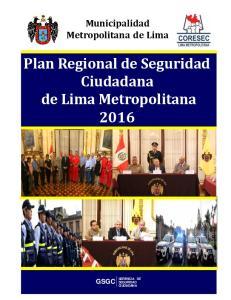 Plan Regional de Seguridad Ciudadana de Lima Metropolitana 2016