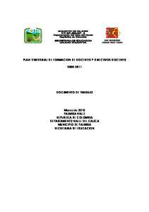 PLAN TERRITORIAL DE FORMACION DE DOCENTES Y DIRECTIVOS DOCENTES DOCUMENTO DE TRABAJO