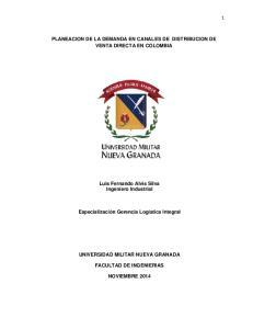 PLANEACION DE LA DEMANDA EN CANALES DE DISTRIBUCION DE VENTA DIRECTA EN COLOMBIA