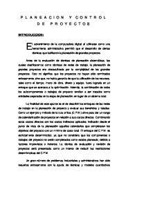 PLANEACION Y CONTROL DE PROYECTOS