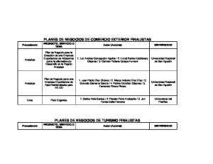 PLANES DE NEGOCIOS DE COMERCIO EXTERIOR FINALISTAS PRODUCTO, SERVICIO O TEMA PLANES DE NEGOCIOS DE TURISMO FINALISTAS PRODUCTO, SERVICIO O TEMA