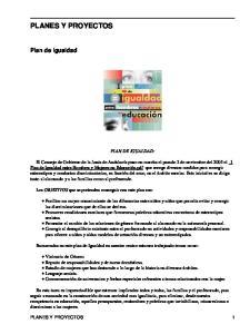 PLANES Y PROYECTOS. Plan de Igualdad PLAN DE IGUALDAD: