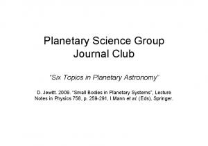 Planetary Science Group Journal Club