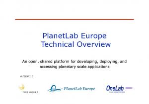 PlanetLab Europe Technical Overview